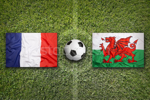 France vs. Wales flags on soccer field Stock photo © kb-photodesign