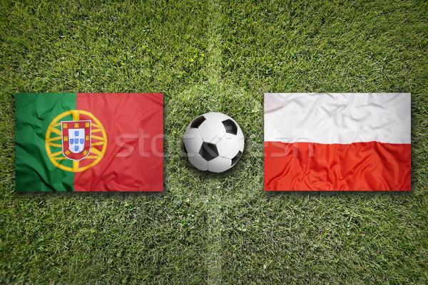 Portekiz vs Polonya bayraklar futbol sahası yeşil Stok fotoğraf © kb-photodesign