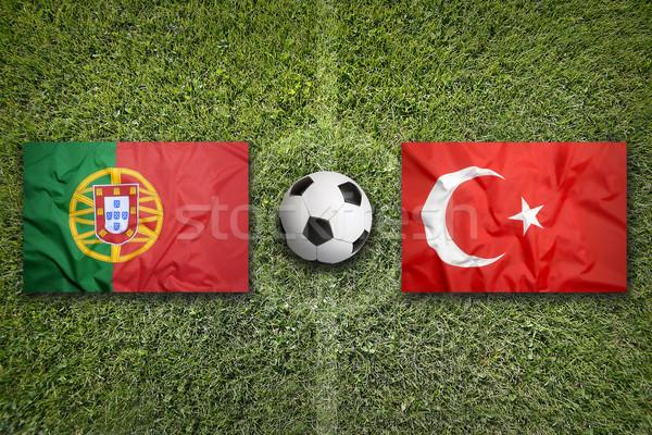 Portugal vs Turkije vlaggen voetbalveld Oekraïne Stockfoto © kb-photodesign