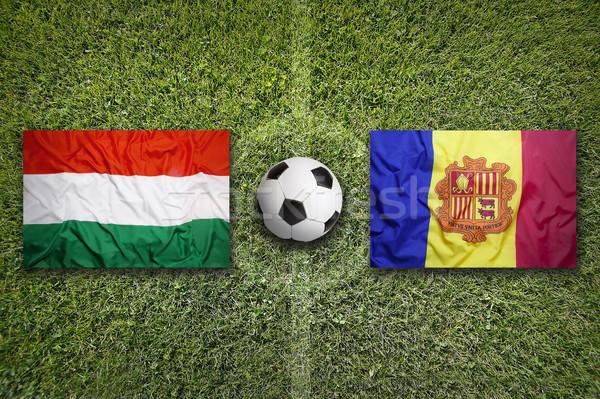 Hungary vs. Andorra flags on soccer field Stock photo © kb-photodesign