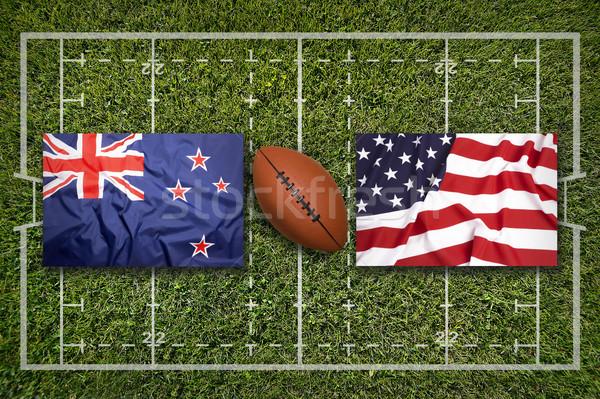 Ireland vs. ScotlandNew Zealand vs. USA flags on rugby field Stock photo © kb-photodesign