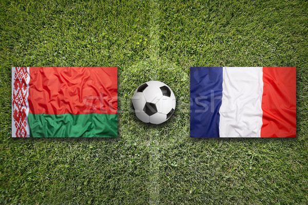 Belarus vs. France flags on soccer field Stock photo © kb-photodesign