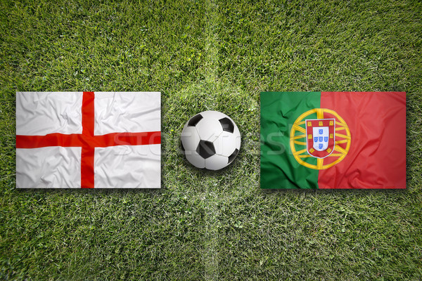 England vs. Portugal flags on soccer field Stock photo © kb-photodesign