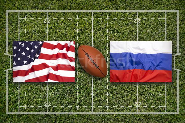 Eua vs bandeiras rugby campo verde Foto stock © kb-photodesign