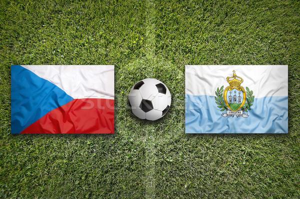 Czech Republic vs. San Marino flags on soccer field Stock photo © kb-photodesign