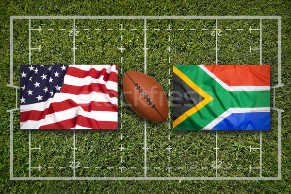 Usa vs zuiden afrika vlaggen rugby Stockfoto © kb-photodesign