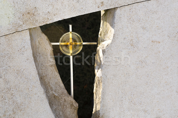 Golden cross in a grave stone Stock photo © kb-photodesign