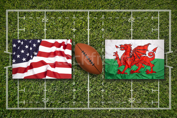 USA vs. Wales flags on rugby field Stock photo © kb-photodesign