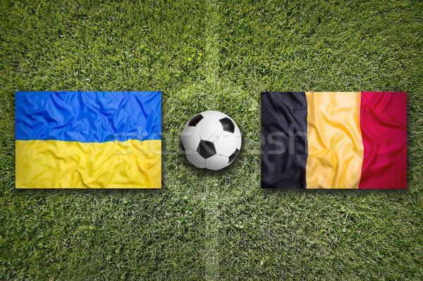 Ukrayna vs Belçika bayraklar futbol sahası yeşil Stok fotoğraf © kb-photodesign