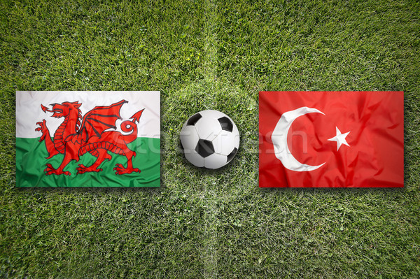 Wales vs. Turkey flags on soccer field Stock photo © kb-photodesign