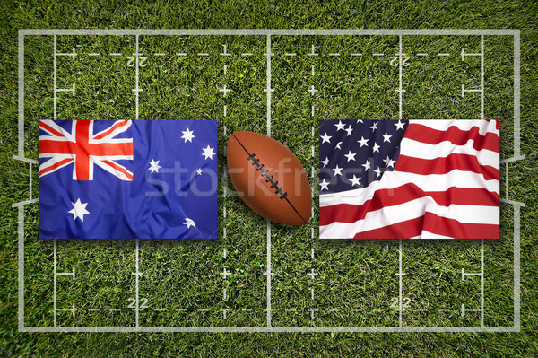 Vs usa vlaggen groene rugby veld Stockfoto © kb-photodesign