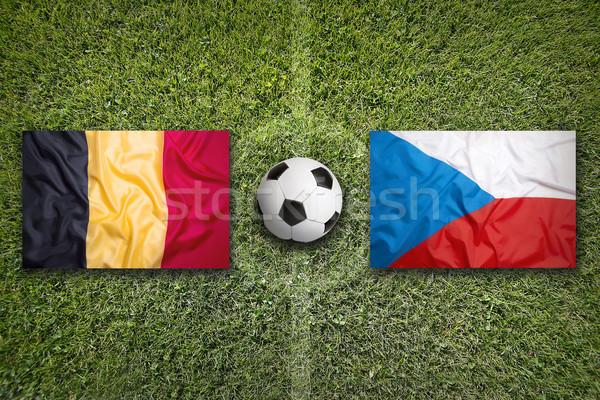 België vs Tsjechische Republiek vlaggen voetbalveld groene Stockfoto © kb-photodesign