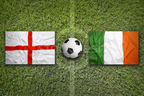 England vs. Ireland flags on soccer field Stock photo © kb-photodesign