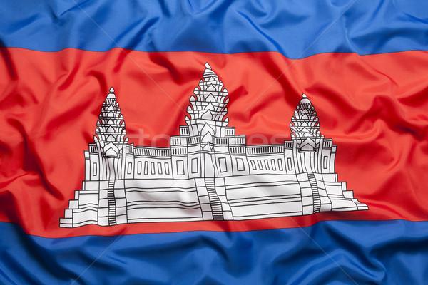 Têxtil bandeira Camboja fundo Foto stock © kb-photodesign