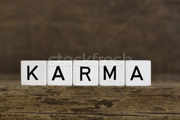 Karma szó írott kockák fából készült kocka Stock fotó © kb-photodesign