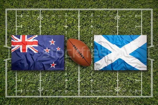 Ireland vs. ScotlandNew Zealand vs. Scotland flags on rugby fi Stock photo © kb-photodesign