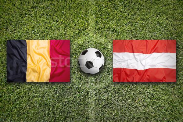 Бельгия против Австрия флагами футбольное поле зеленый Сток-фото © kb-photodesign