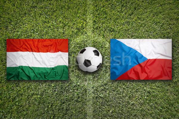 Magyarország vs Csehország zászlók futballpálya zöld Stock fotó © kb-photodesign