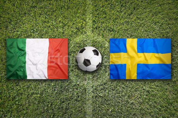 Olaszország vs Svédország zászlók futballpálya zöld Stock fotó © kb-photodesign