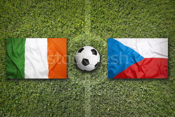 Ireland vs. Czech Republic flags on soccer field Stock photo © kb-photodesign
