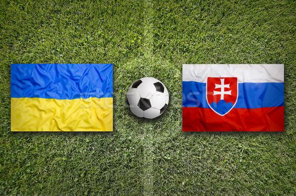 Ucrania vs Eslovaquia banderas campo de fútbol verde Foto stock © kb-photodesign