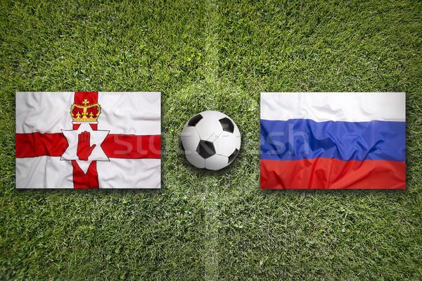 északi vs zászlók futballpálya zöld csapat Stock fotó © kb-photodesign