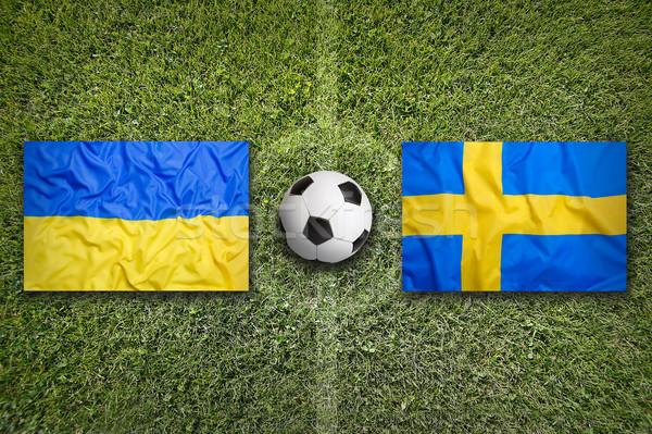Ucrania vs Suecia banderas campo de fútbol verde Foto stock © kb-photodesign