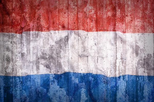 Grunge stil Hollanda bayrak tuğla duvar Bina Stok fotoğraf © kb-photodesign