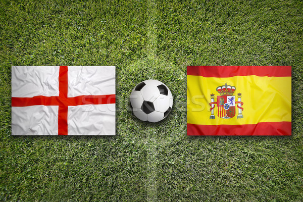 England vs. Spain flags on soccer field Stock photo © kb-photodesign