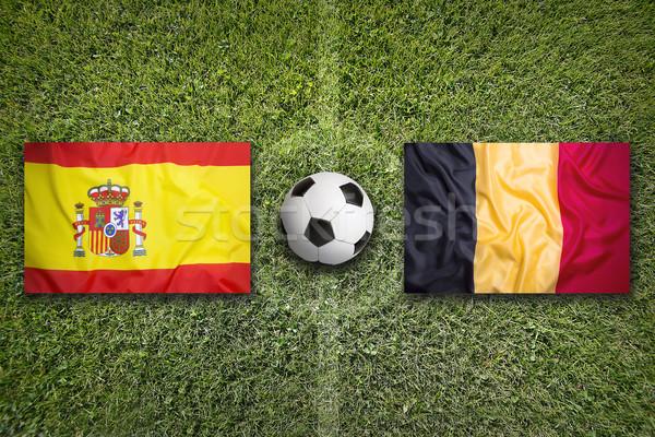 España vs Bélgica banderas campo de fútbol verde Foto stock © kb-photodesign