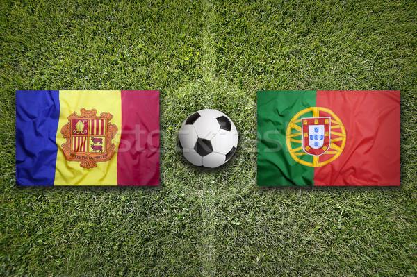Andorra vs Portugal vlaggen voetbalveld groene Stockfoto © kb-photodesign