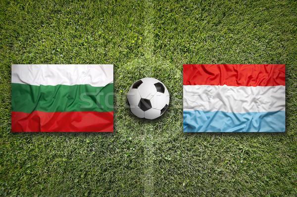 Bulgária vs Luxemburg zászlók futballpálya zöld Stock fotó © kb-photodesign