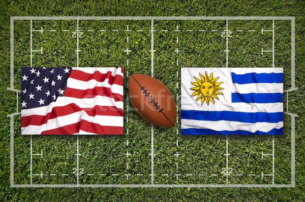 USA vs zászlók rögbi mező zöld Stock fotó © kb-photodesign