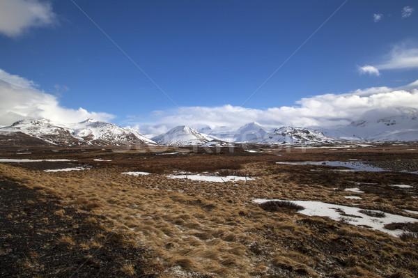 Berg landschap IJsland vulkanisch schiereiland voorjaar Stockfoto © kb-photodesign