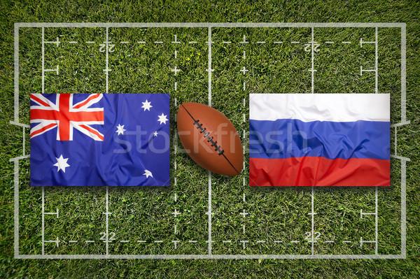 Vs banderas verde rugby campo hierba Foto stock © kb-photodesign