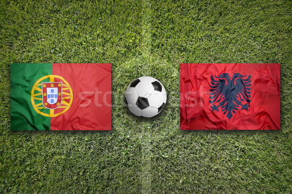 Portugal vs. Albania flags on soccer field Stock photo © kb-photodesign