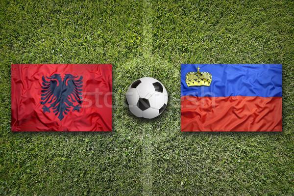 Albania vs Liechtenstein bandiere campo di calcio verde Foto d'archivio © kb-photodesign