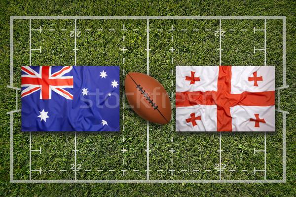 Vs bayraklar rugby alan yeşil çim Stok fotoğraf © kb-photodesign