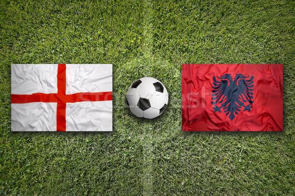 England vs. Albania flags on soccer field Stock photo © kb-photodesign