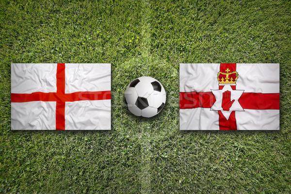 England vs. Northern Ireland flags on soccer field Stock photo © kb-photodesign