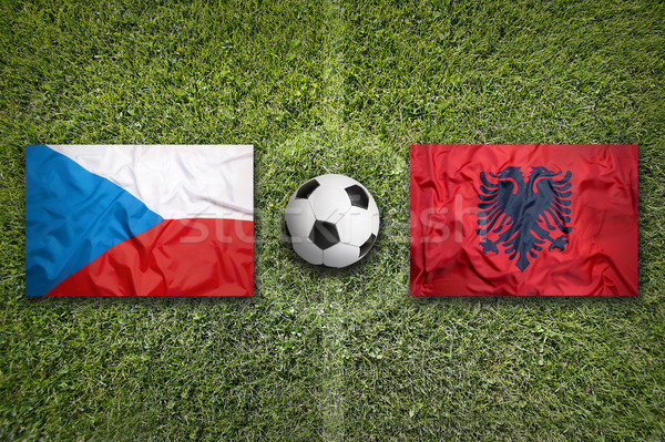 Czech Republic vs. Albania flags on soccer field Stock photo © kb-photodesign