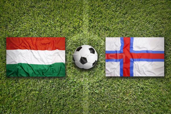 Венгрия против флагами футбольное поле зеленый Сток-фото © kb-photodesign
