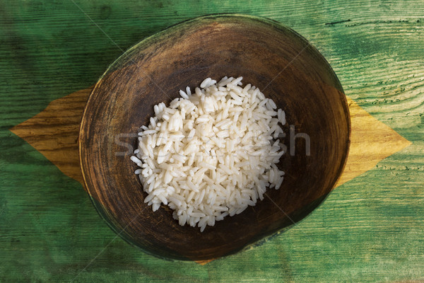 Poverty concept, bowl of rice with Brazilian flag Stock photo © kb-photodesign