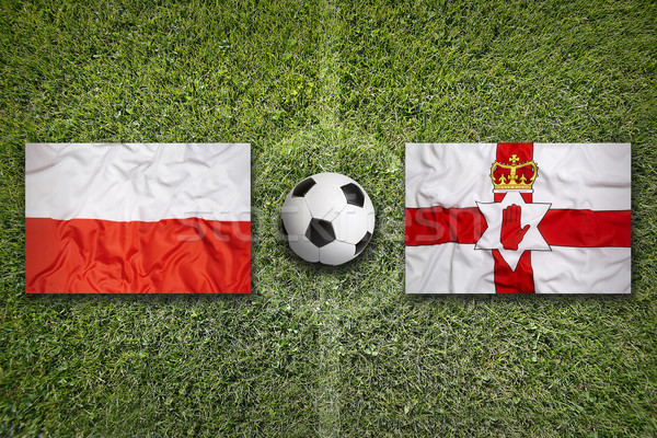 Polen vs noordelijk Ierland vlaggen voetbalveld Stockfoto © kb-photodesign