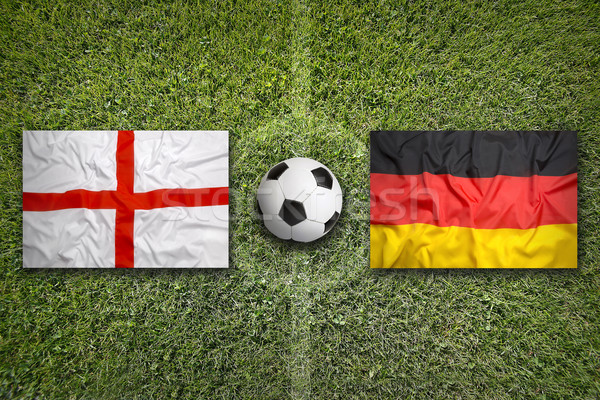England vs. Germany flags on soccer field Stock photo © kb-photodesign