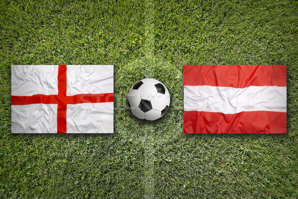 England vs. Austria flags on soccer field Stock photo © kb-photodesign