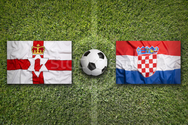 Northern Ireland vs. Croatia flags on soccer field Stock photo © kb-photodesign