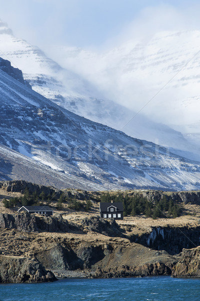 Small houses at the East coast of Iceland Stock photo © kb-photodesign