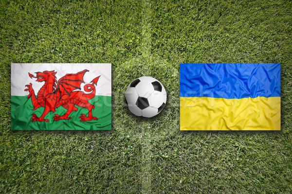 Galler vs Ukrayna bayraklar futbol sahası yeşil Stok fotoğraf © kb-photodesign