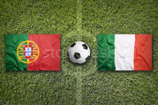 Португалия против Италия флагами футбольное поле зеленый Сток-фото © kb-photodesign